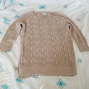St. John's Bay knit sweater beige 3/4 sleeves